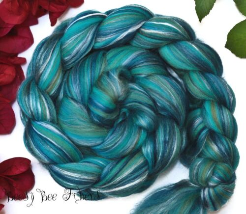 MOTHER EARTH - Merino Silk Combed Top Wool Roving for Spinning Felting 4 oz