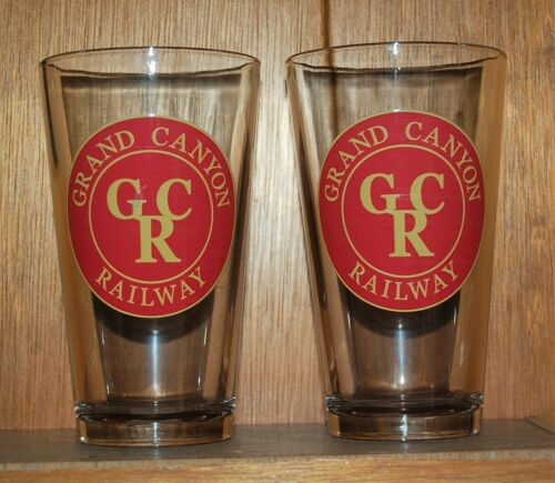 Lot of Two (2) GRAND CANYON RAILWAY Logo Collectible Glass Beer Pint Glasses