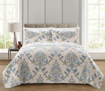 Yellow Quilt Set - Regal Home Collections 3 Pc. Blue Gray & Yellow Floral Paisley Sham & Quilt Set