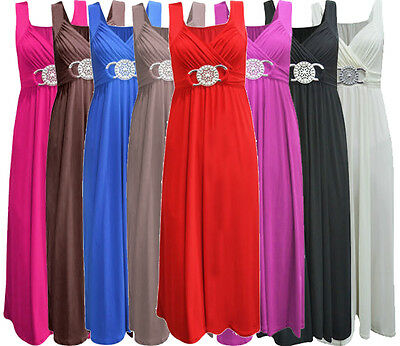 Womens Plus Size Gürtelschnalle Waisted Tie Zurück Abend lang Maxi Kleid
