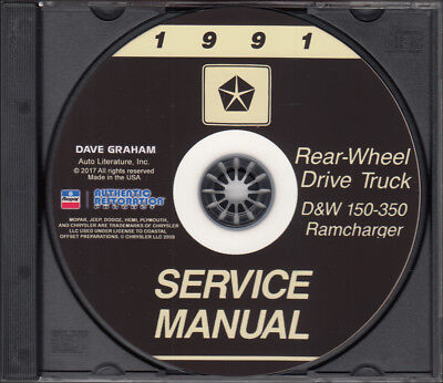 1991 Dodge Truck Shop Manual CD D150-D350 Pickup Ramcharger W150-W350 Gas Diesel