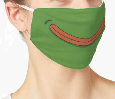 Smile Pepe The Frog Fabric Face Mask, Funny Meme Reusable Washable Cover Masks