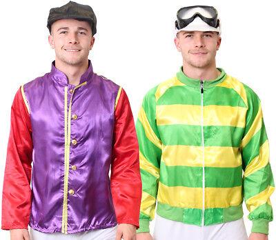 JOCKEY COSTUME 2 PIECE SET MENS HORSE RACING FANCY DRESS ADULT JACKET AND CAP - 2 Man Horse Costume