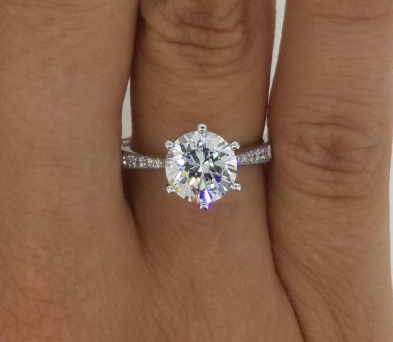 2.5 Ct Pave 6 Prong Round Cut Diamond Engagement Ring Vs1 H White Gold 14k