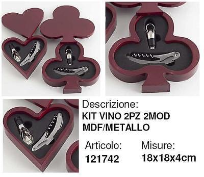 N.1 Kit 2 Accesorios Para Vino en Caja Magnético Madera MDF En...