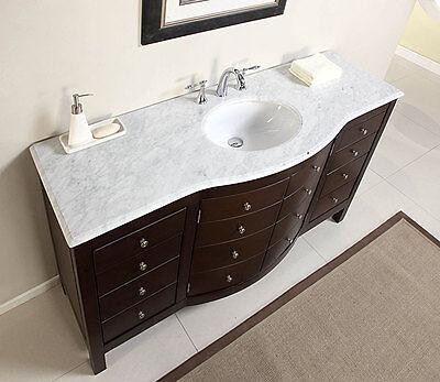 Marble Bathroom Storage Cabinet - 60