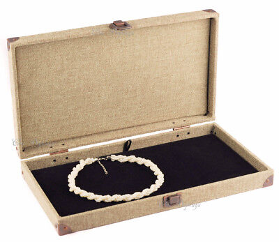 Burlap Solid Top Wooden Case Jewelry Box Display Case With Flat Liner Showcase