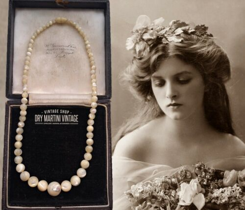 ANTIQUE MOTHER OF PEARL BEADS NECKLACE IRIDESCENT BEAUTIFUL GIFT WEDDING BRIDAL