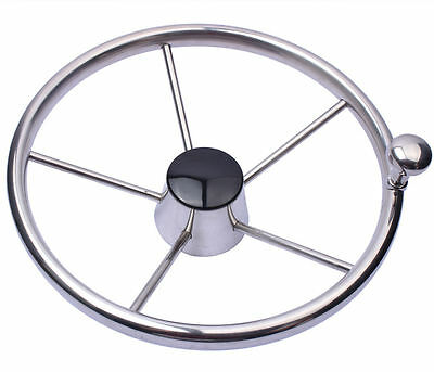 Boat 316 Stainless Steel 11  Steering Wheel With Knob 5 Spoke For Marine Yacht