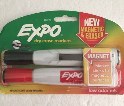 Expo Magnetic Dry Erase Markers With Eraser Chisel Tip. Red Black. Sealed