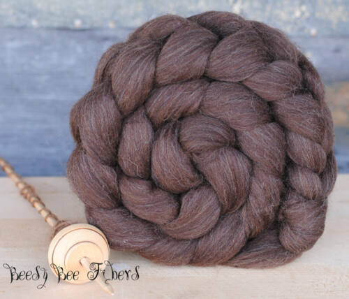 Undyed Natural Brown Corriedale Wool Roving Combed Top for Spinning, Felting 4oz