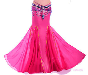 New-Sexy-Belly-Dance-Costume-Long-Fishtail-Skirt-Dress-10-colours
