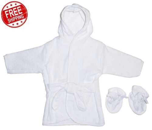 Baby Toddler Robe White Terry Hooded Bath W/ Booties Set One Size Up 9 Months