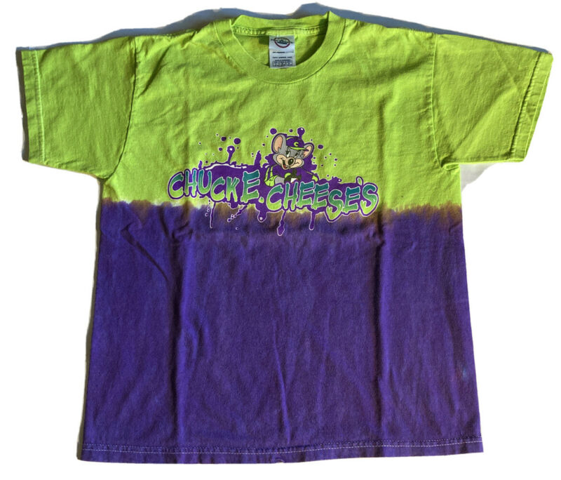 Vintage 90s Promo Chuck E Cheese's Youth L T Shirt 14-16 Delta Two Tone Tie Dye