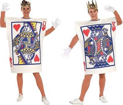 Paar Kostüme Erwachsene König und Königin der Herzen Herren Damen Spielkarte