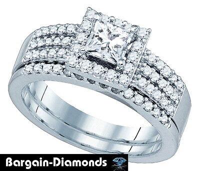 diamond 1.01 carat bridal 14K gold princess engagement wedding band ring set GIA