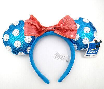 Disney Parks Polka Dot Mickey Gift Blue Sequins Minnie Mouse Ears Teal Headband Blue Polka Dot Gift