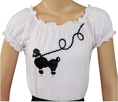 Poodle Skirt Costume For Adults (New 50s Style White Peasant Blouse with Poodle for Poodle Skirts _ Adult Size)