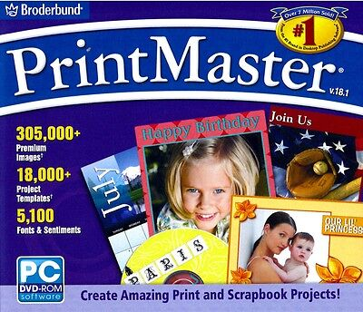 PrintMaster 18.1 Platinum Full Version XP/Vista/7 Brand New Sealed Print Master