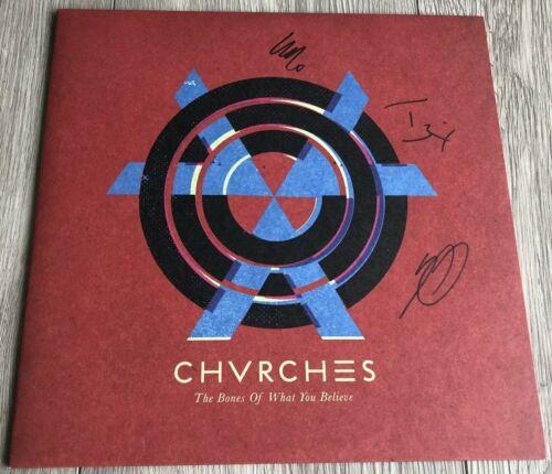 CHVRCHES SIGNED AUTOGRAPH THE BONES OF WHAT YOU BELIEVE VINYL ALBUM w/PROOF
