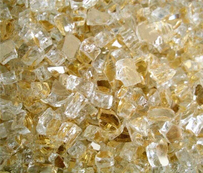 "1 Lb ~1/4"" GOLD REFLECTIVE US MADE  Fireglass Fireplace Fire Pit Glass"