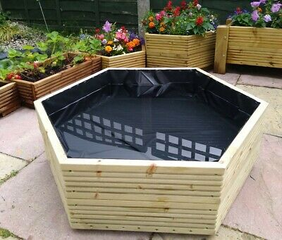 Garden Water Feature Wooden Planter Hexagonal Decorative Plant Pond Ready To Use