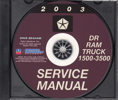 2003 Dodge Ram Truck Shop Manual on CD-ROM 1500 2500 3500 Pickup Repair Service
