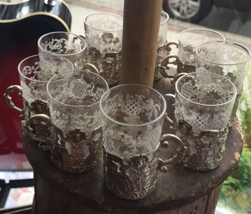 Antique 800 Silver Germany Etched Glass Cordials in Repousse Holders Set of 10