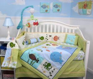 Ocean crib bedding ebay for Fishing baby bedding