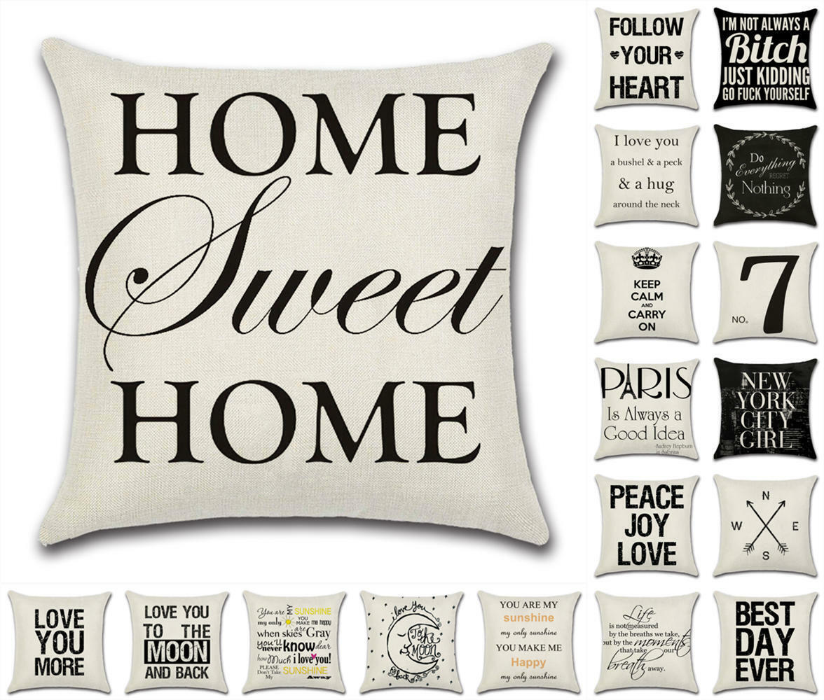 new motto words cushion cover pillow case