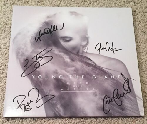 YOUNG THE GIANT SIGNED AUTOGRAPH MIND OVER MATTER VINYL RECORD ALBUM w/PROOF