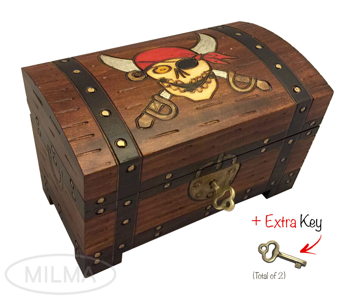 Pirate Chest Box Polish Handmade Wood Keepsake Jewelry Box