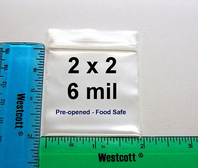 100 - 2 X 2 Clear 6 Mil Recloseable Zipper Zip Lock Ldpe Heavy Duty Zip Bags