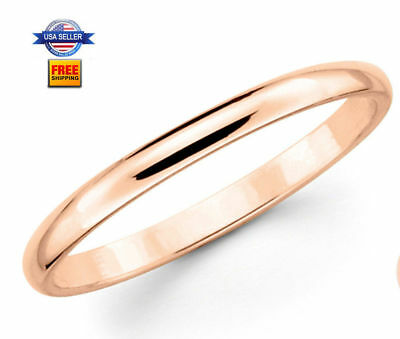 Thin Rose Gold Plated Stainless steel 2mm Wedding Band Ring