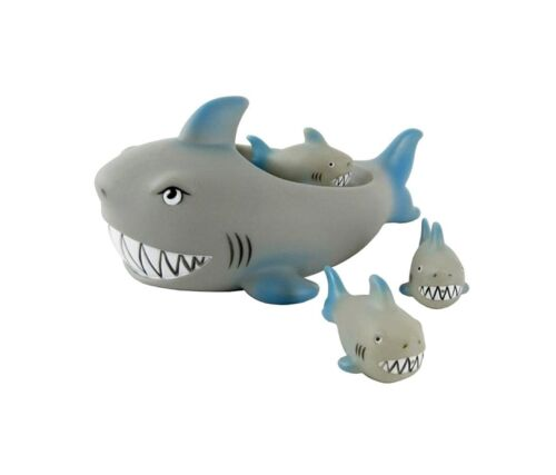 Playmaker Toys Rubber Shark Family Floating Bath Tub Baby Shark Set of 4 Toy