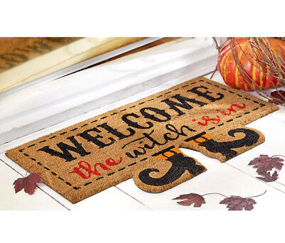 Halloween Welcome Mat (Mud Pie Mud Pie Welcome the Witch Is In Halloween Coir Mat Novelty Holiday)