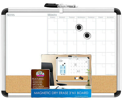 The Board Dudes The Board Dudes Magnetic 3-in-1 Dry Erase Cork Calendar Board 4