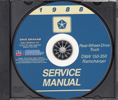 1988 Dodge Truck Shop Manual CD D150-D350 Pickup Ramcharger W150-W350 Service
