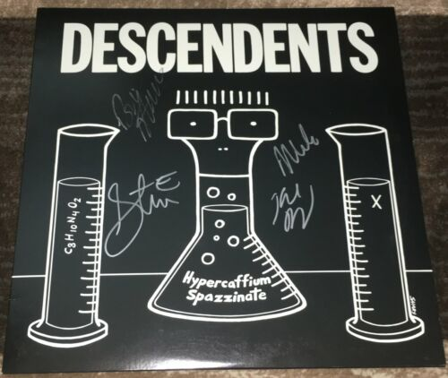THE DESCENDENTS BAND SIGNED AUTOGRAPH HYPERCAFFIUM SPAZZINATE ALBUM wEXACT PROOF
