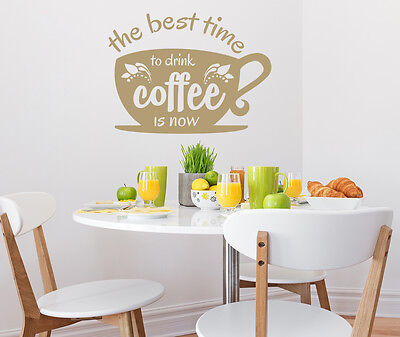 Wall Decals The Best Time To Drink Coffee Quote Vinyl Sticker Decal