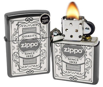 Zippo 29425 Quality Since 1932 Black Ice Chrome Finish Windproof Pocket Lighter