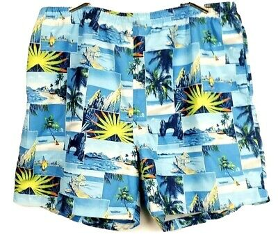 Nautica mens  XXL Swim Trunks Big and tall lined  Blue Ocean Scenes Nwot