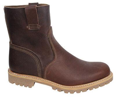Ziehen Leder Stiefel (Timberland Stiefel Firma Herren Slipper Hochziehen Braun Leder A132H Opp D1)