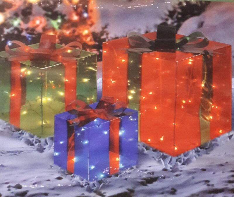 3Piece SET Lighted Presents Gift Box Set For Indoor Outdoor Christmas Decorating