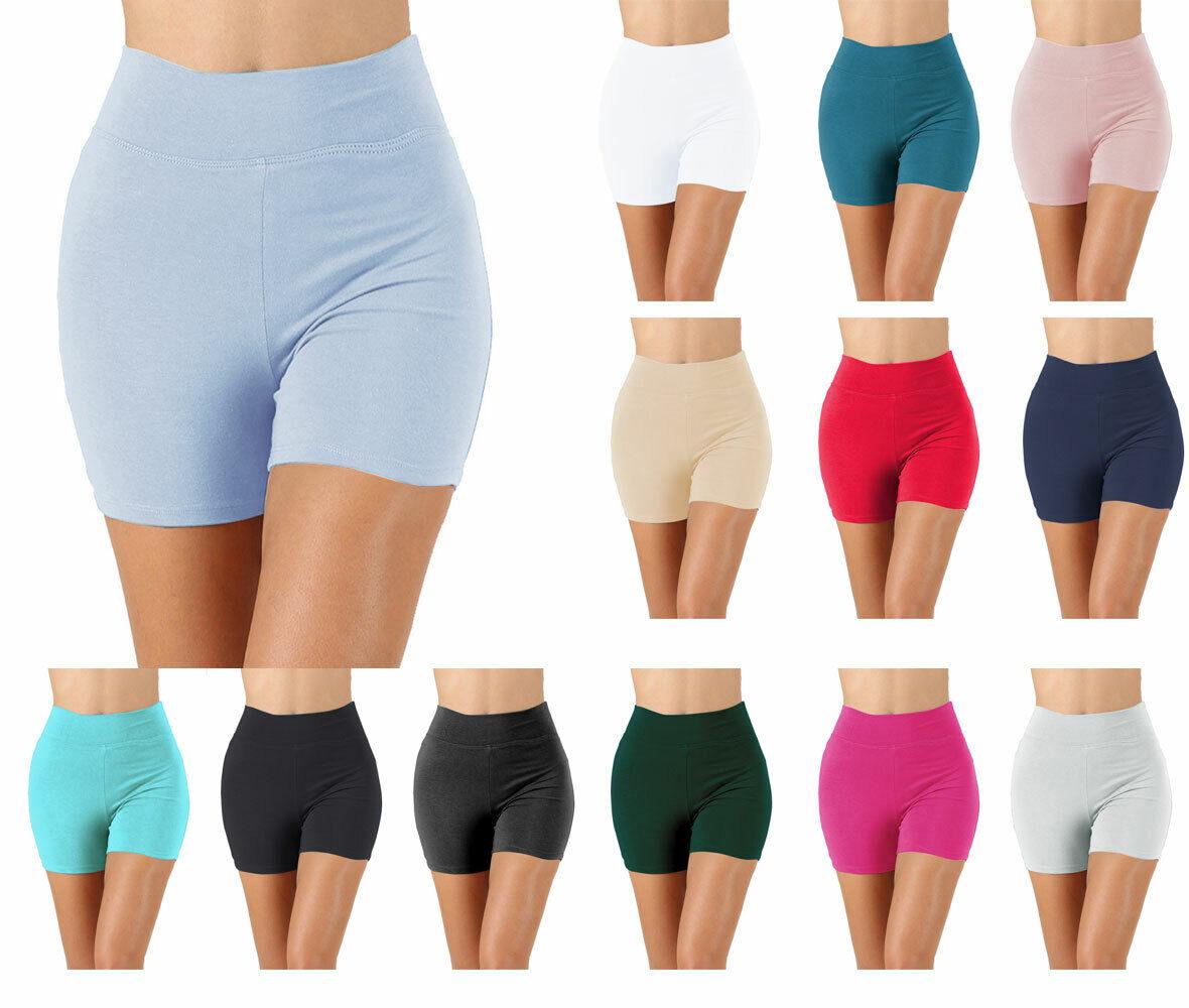 Womens Cotton Spandex High Thigh Rise Biker Shorts Thick Ban