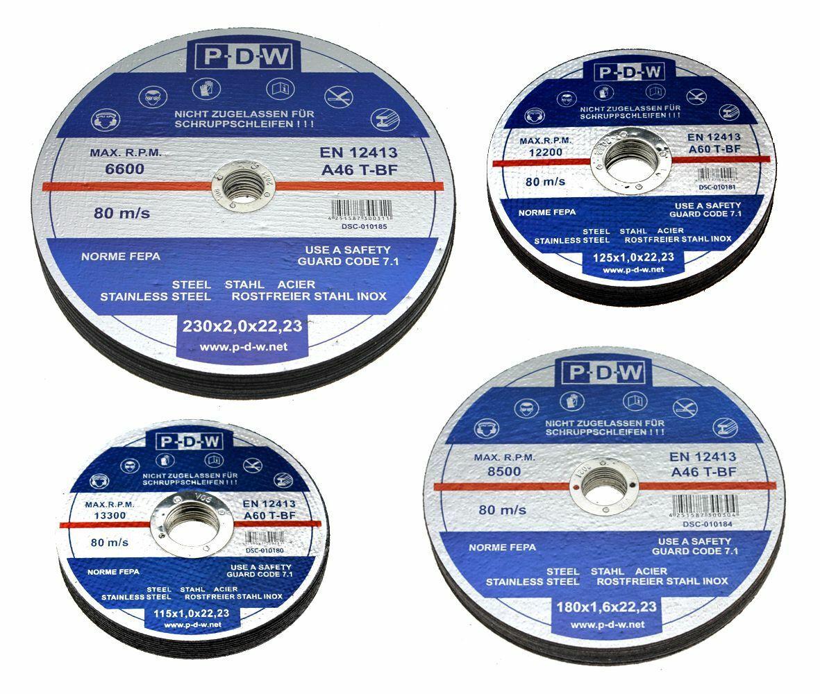 10x Trennscheiben 115 125 180 230 mm für Bleche Stahl Metall Winkelschleifer