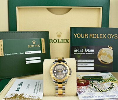 ROLEX REHAUT 18kt Gold & Stainless Yachtmaster Slate Dial CARD 169623 SANT BLANC