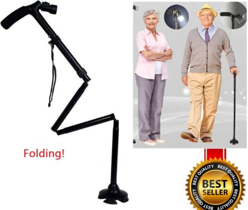 Magic cane Folding LED Safety Walking Stick 4 Head Pivoting Trusty Black