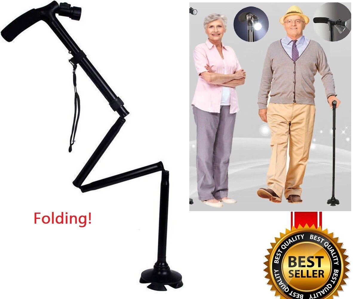 Magic cane Folding LED Safety Walking Stick 4 Head Pivoting