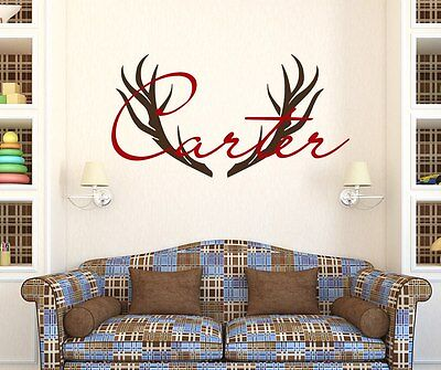 Boy Name Wall Decal Deer Horns Decal Hunting Vinyl Sticker Nursery Decor - Hunting Nursery Decor